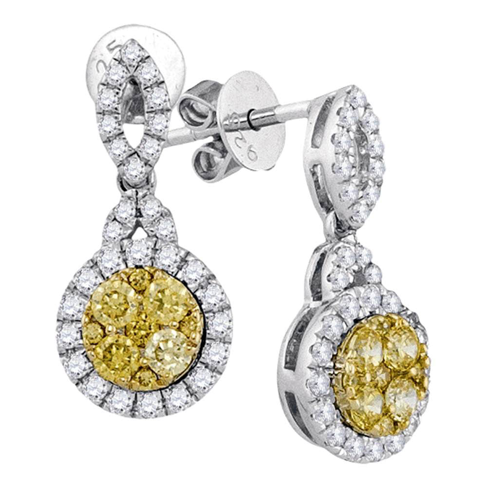 14kt White Gold Womens Round Yellow Diamond Circle Dangle Earrings 7/8 Cttw