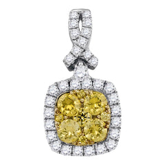 14kt White Gold Womens Round Yellow Diamond Cluster Square Frame Pendant 1 Cttw