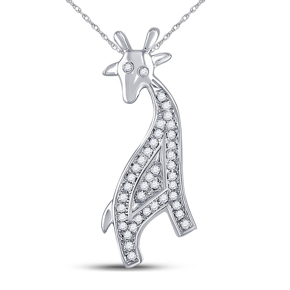 10kt White Gold Womens Round Diamond Giraffe Animal Pendant 1/10 Cttw