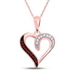 10kt Rose Gold Womens Round Red Color Enhanced Diamond Heart Pendant 1/20 Cttw