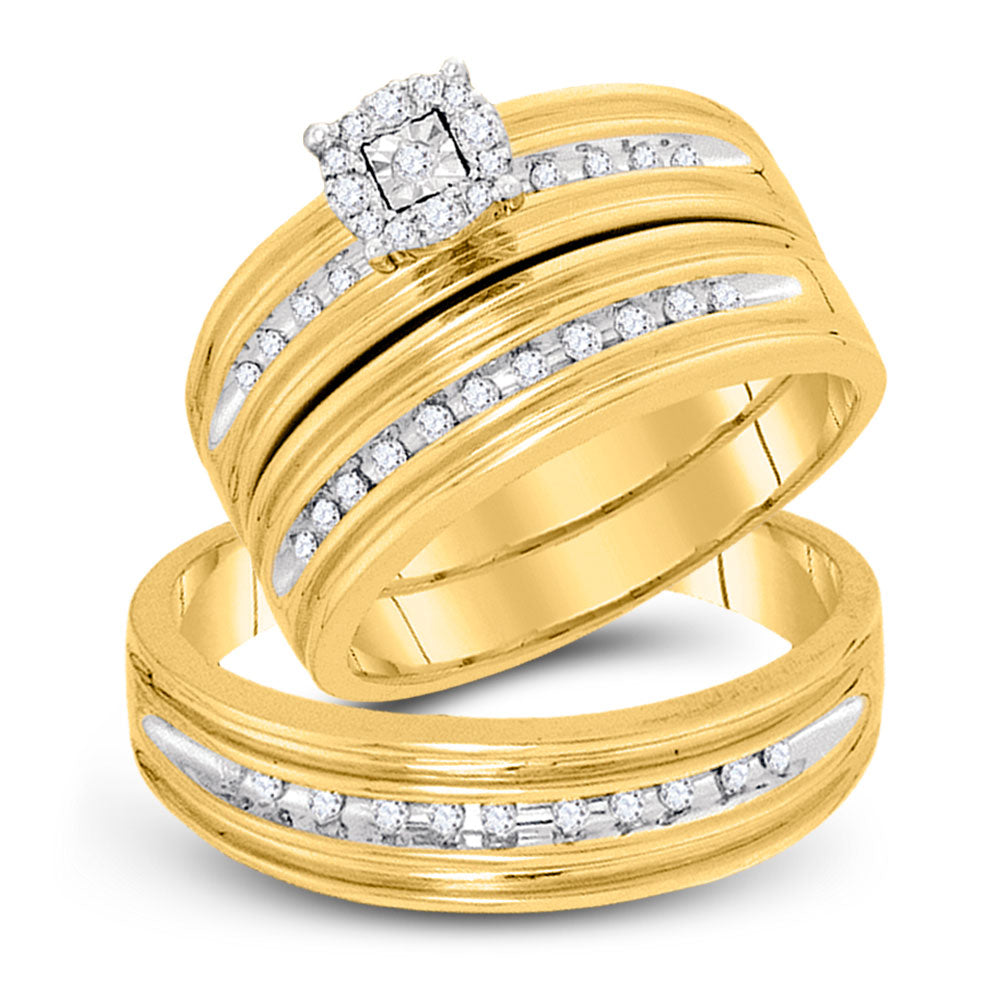 10kt Yellow Gold His Hers Round Diamond Solitaire Matching Wedding Set 1/3 Cttw