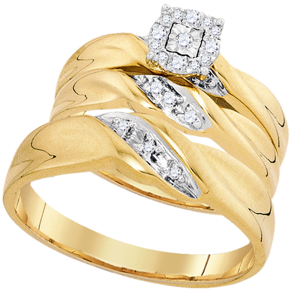 10kt Yellow Gold His Hers Round Diamond Matching Wedding Set 1/8 Cttw