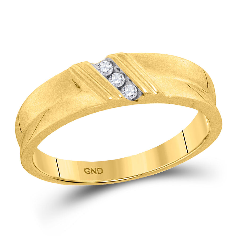 10kt Yellow Gold Mens Round Diamond Wedding Band Ring 1/20 Cttw
