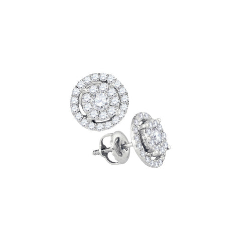 14kt White Gold Womens Round Diamond Concentric Cluster Earrings 3/4 Cttw