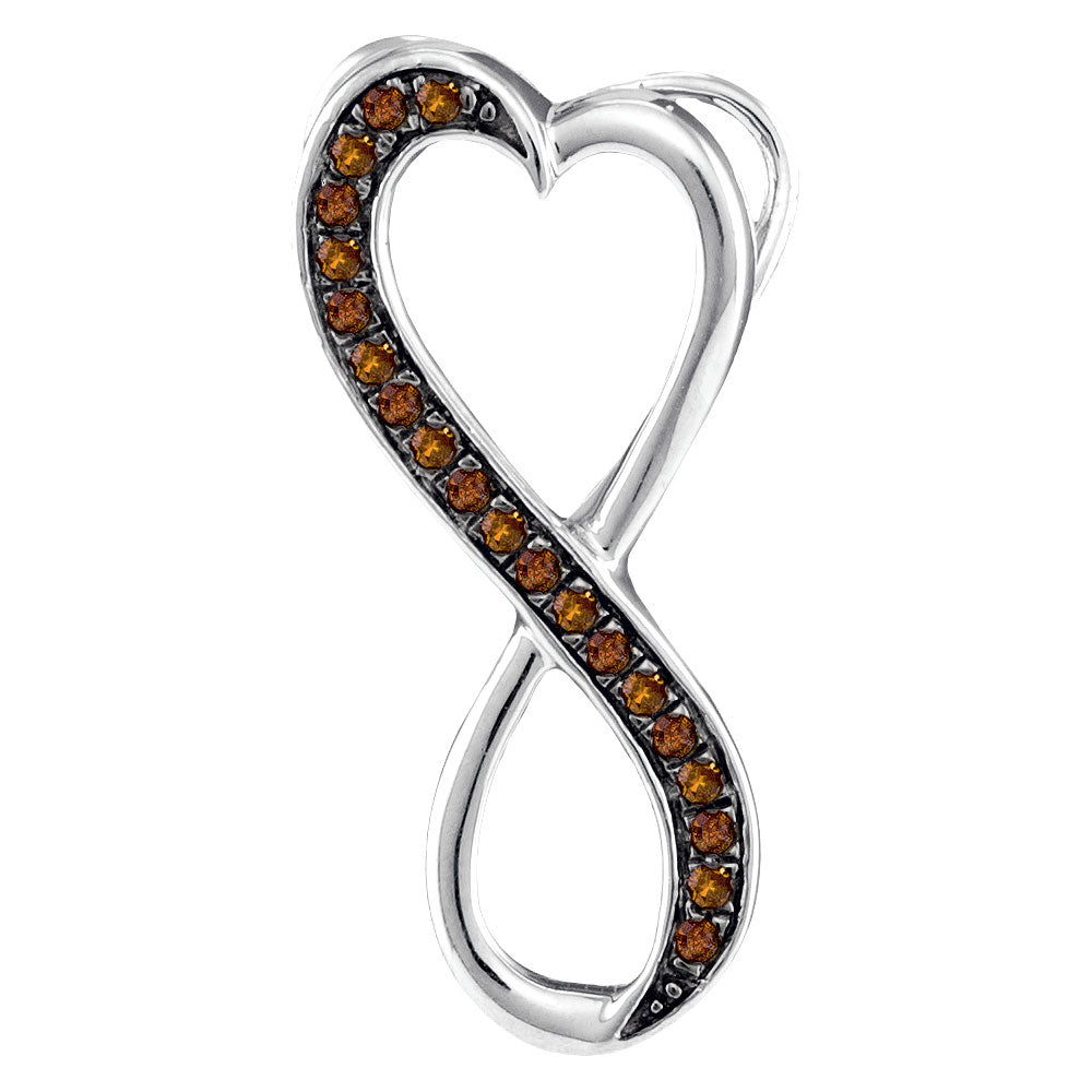 10kt White Gold Womens Round Brown Diamond Heart Infinity Pendant 1/10 Cttw