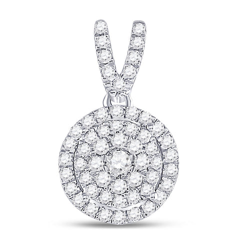 10kt White Gold Womens Round Diamond Circle Frame Cluster Pendant 3/8 Cttw