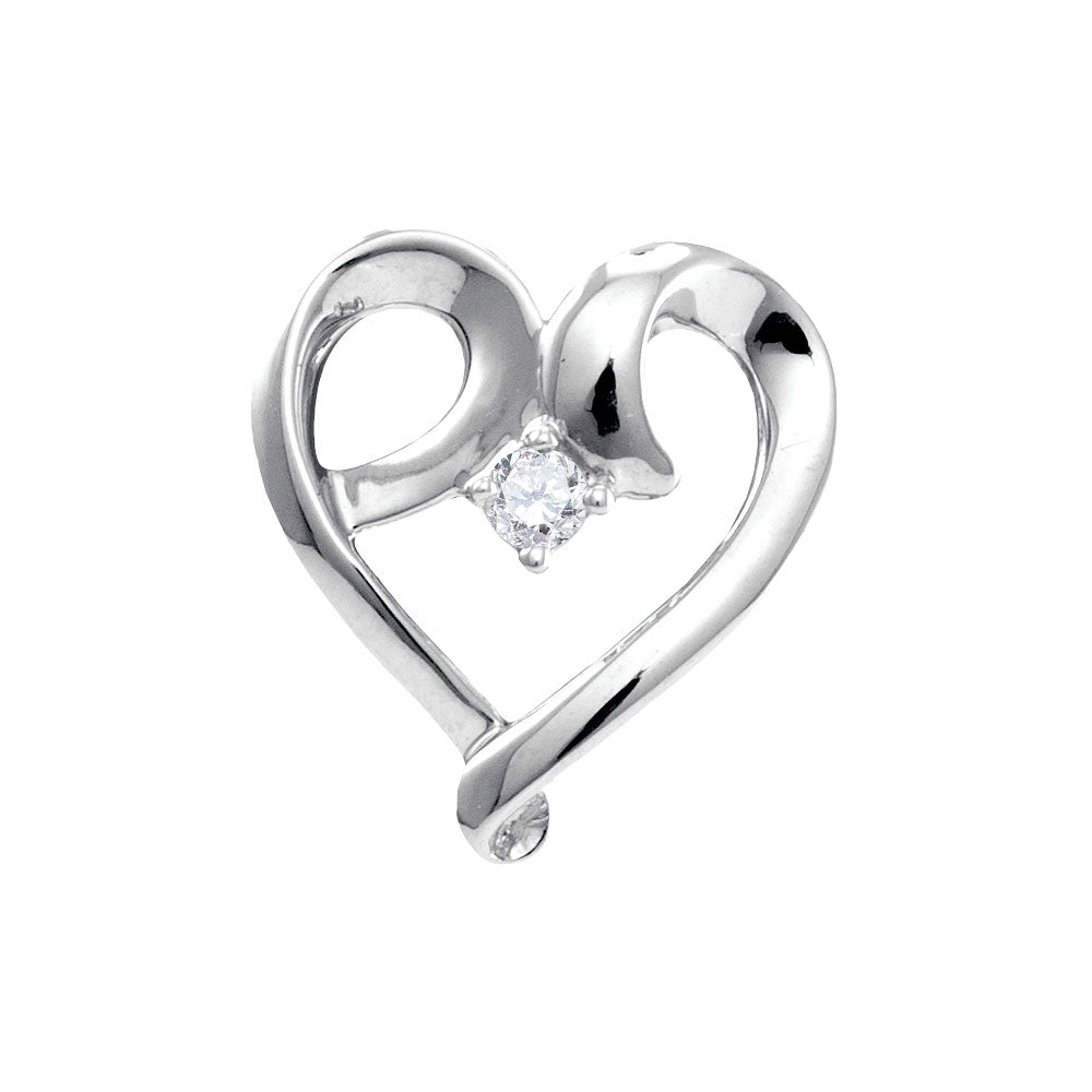 10kt White Gold Womens Round Diamond Solitaire Heart Pendant 1/20 Cttw