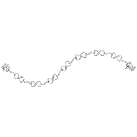 Sterling Silver Womens Round Diamond Infinity Bracelet 1/4 Cttw