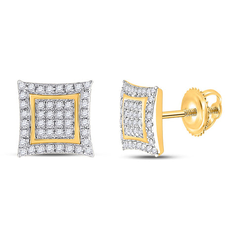 10kt Yellow Gold Womens Round Diamond Kite Square Earrings 1/4 Cttw