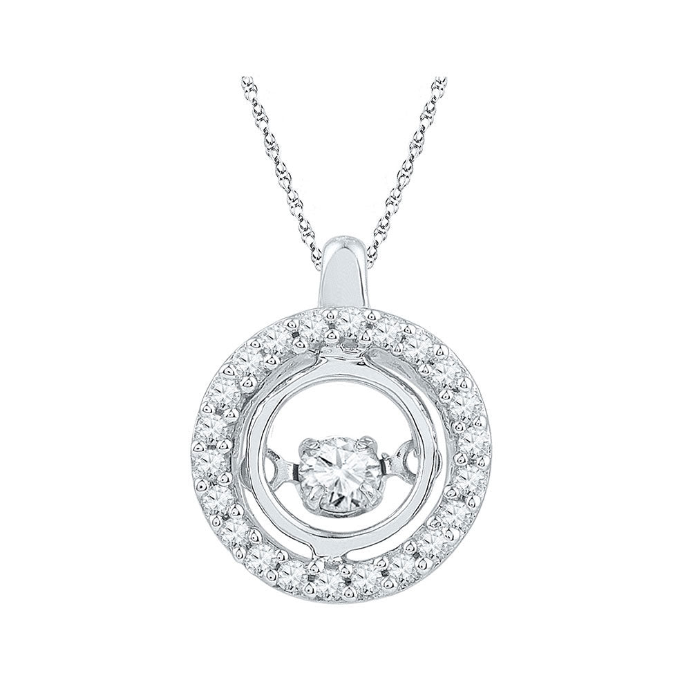 10kt White Gold Womens Round Diamond Circle Moving Twinkle Pendant 1/4 Cttw