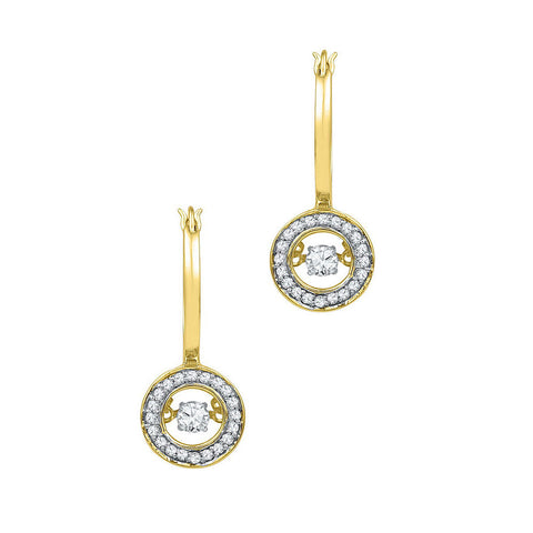 10kt Yellow Gold Womens Round Diamond Moving Dangle Earrings 1/3 Cttw