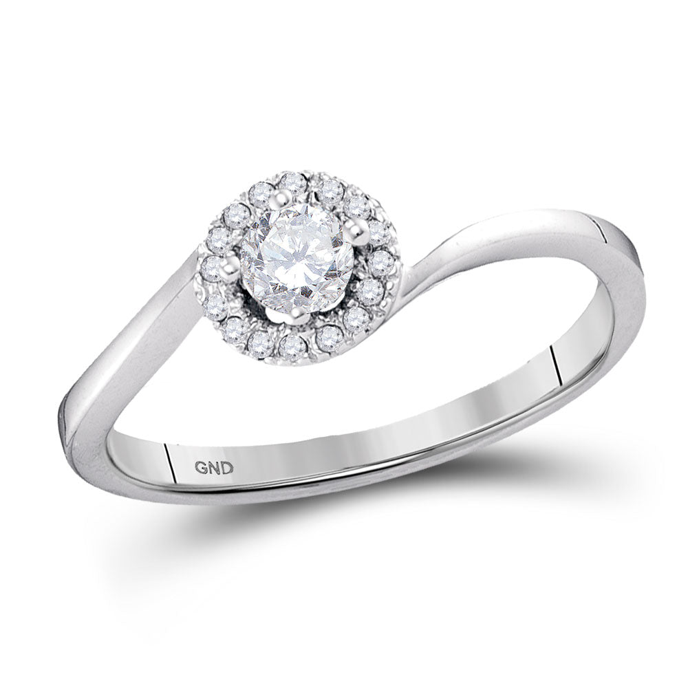 10kt White Gold Round Diamond Solitaire Halo Bridal Wedding Engagement Ring 1/4 Cttw