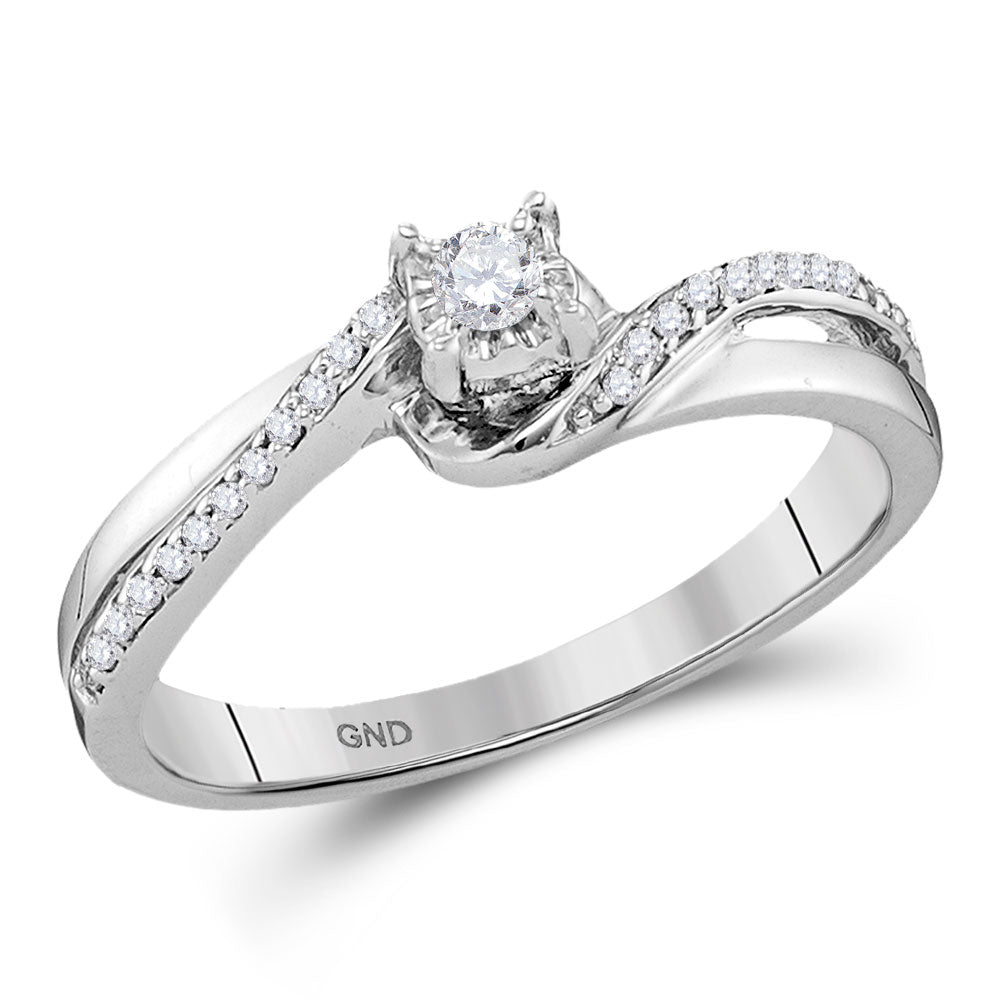 10kt White Gold Round Diamond Solitaire Bridal Wedding Engagement Ring 1/8 Cttw