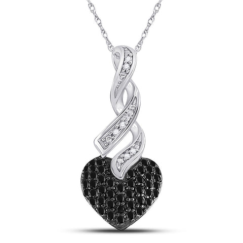 10kt White Gold Womens Round Black Color Enhanced Diamond Heart Pendant 1/3 Cttw