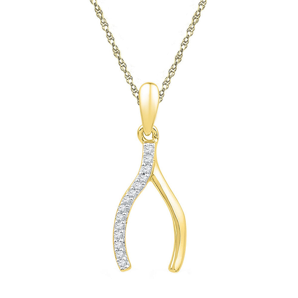 10k Yellow Gold Diamond Womens Wishbone Lucky Prosperity Charm Pendant 1/20 Cttw