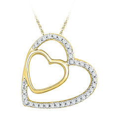 10kt Yellow Gold Womens Round Diamond Double Heart Pendant 1/8 Cttw