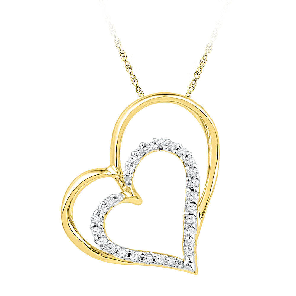 10kt Yellow Gold Womens Round Diamond Double Heart Outline Pendant 1/8 Cttw