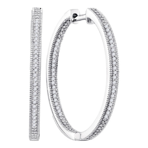10kt White Gold Womens Round Diamond Inside Outside Hoop Earrings 1/2 Cttw