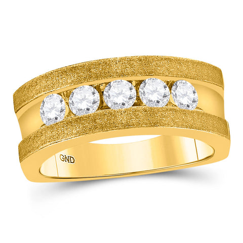 10k Yellow Gold Mens Round Diamond Single Row 5-Stone Wedding Band Ring 1/2 Cttw