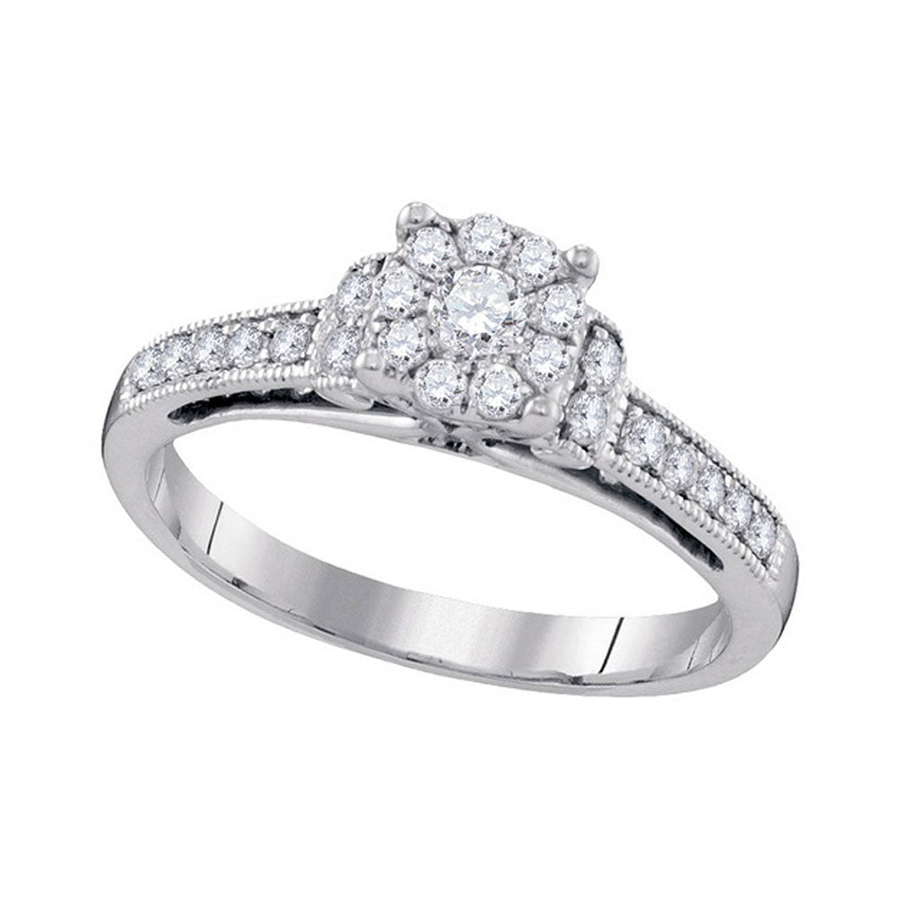 10kt White Gold Round Diamond Cluster Bridal Wedding Engagement Ring 1/2 Cttw
