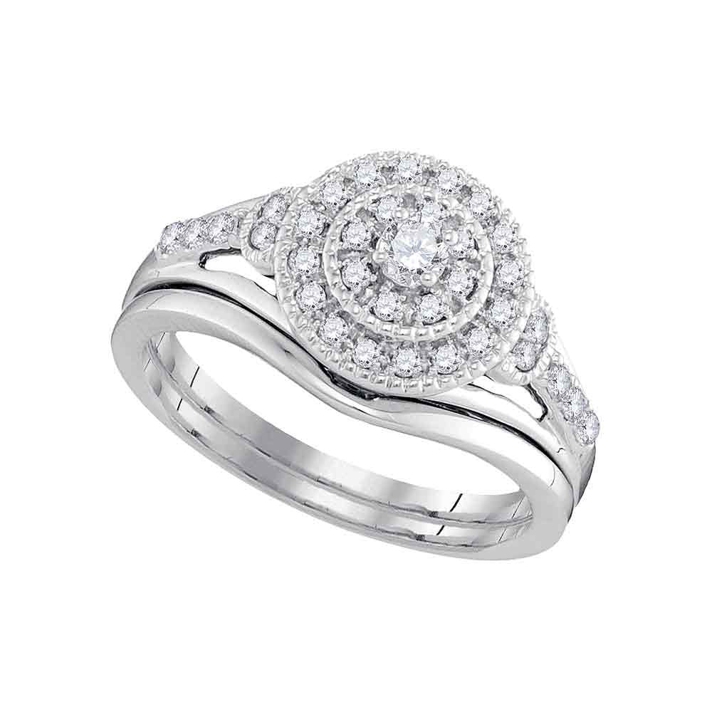10kt White Gold Diamond Round Bridal Wedding Ring Band Set 1/3 Cttw