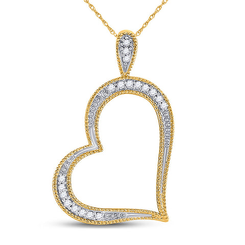 10kt Yellow Gold Womens Round Diamond Outline Heart Pendant 1/20 Cttw