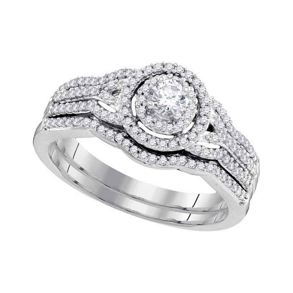 10k White Gold Round Diamond Bridal Wedding Ring Band Set 1/2 Cttw