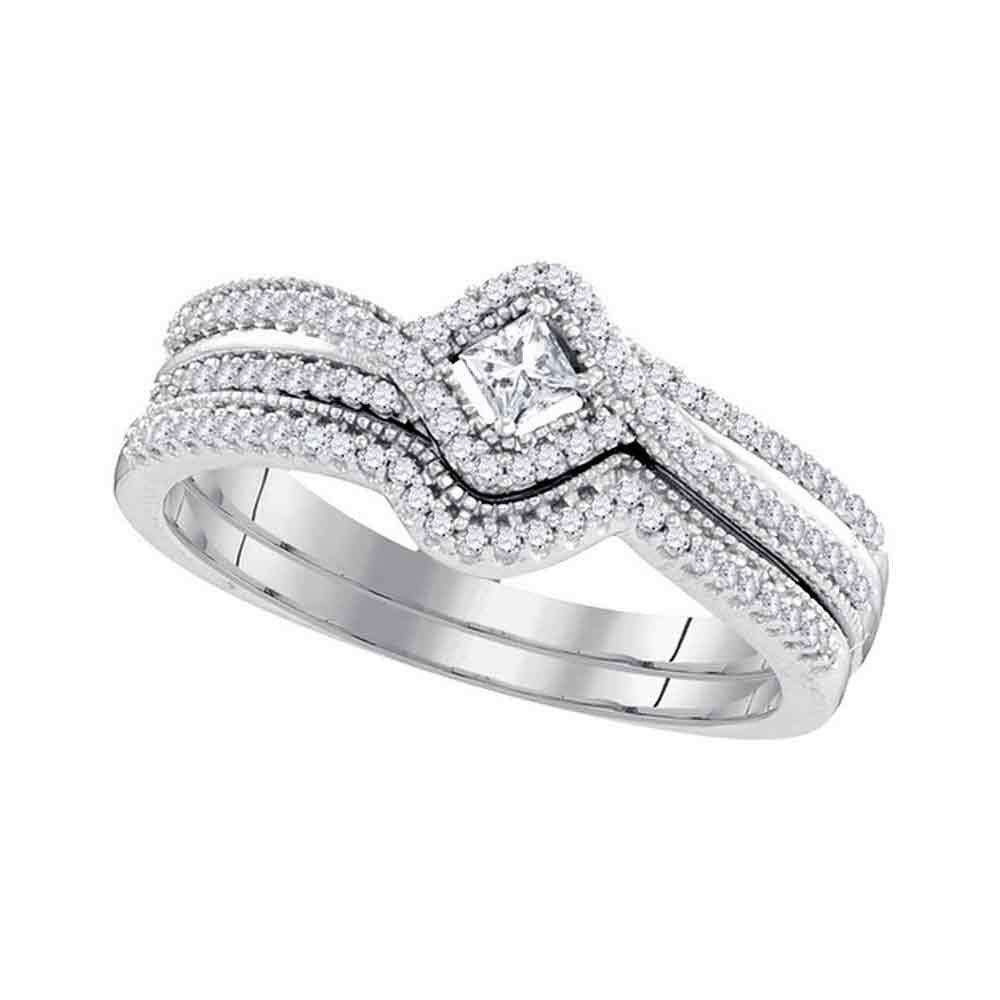 10k White Gold Princess Diamond Bridal Wedding Ring Band Set 1/3 Cttw