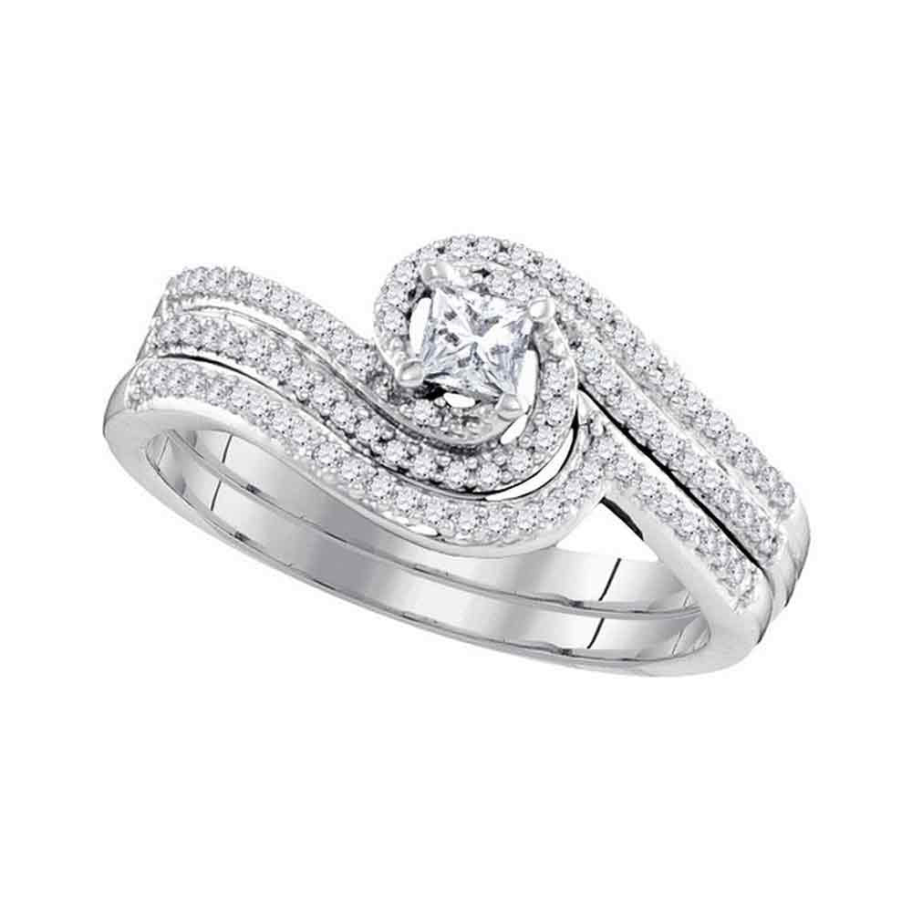 10k White Gold Princess Diamond Bridal Wedding Ring Band Set 3/8 Cttw