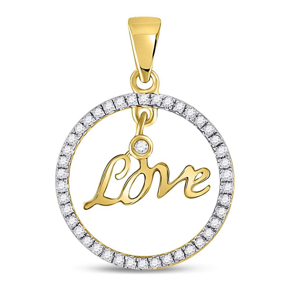 10kt Yellow Gold Womens Round Diamond Heart Circle Pendant 1/4 Cttw
