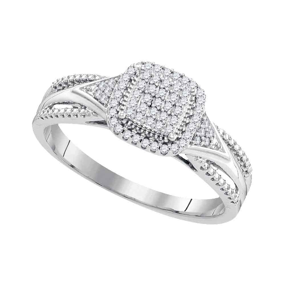 10kt White Gold Round Diamond Square Cluster Bridal Wedding Engagement Ring 1/6 Cttw