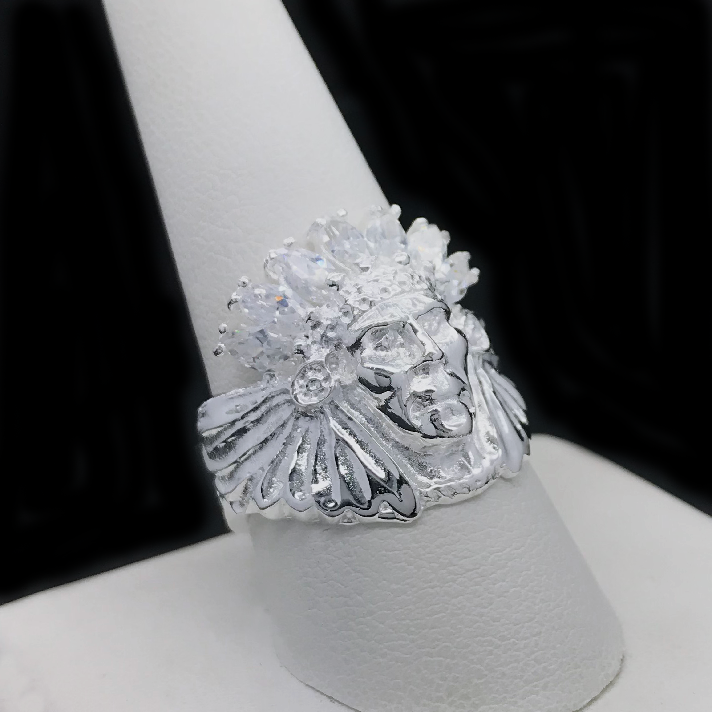 Anillo De Indio Con Cubic Zirconia De 925 Plata/Sterling Silver Indian Cubic Zirconia Ring
