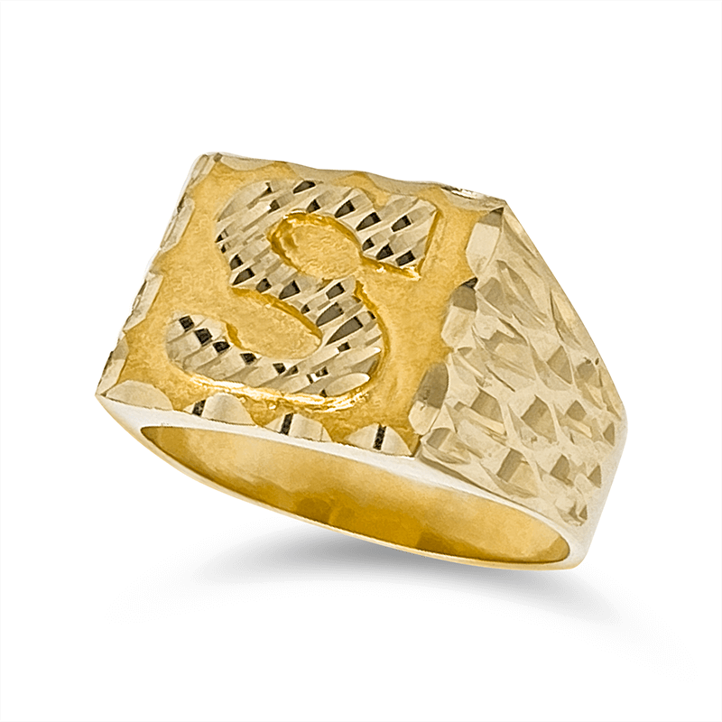 Anillo Inicial de Hombre 10KT Lados Diamantados/Men's Initial Ring with Diamond Cut Sides in 10KT Gold