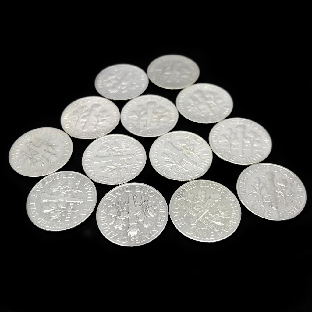 Arras Matrimoniales En Plata .900/.900 Silver Wedding Dime Coins (Set Of 13)