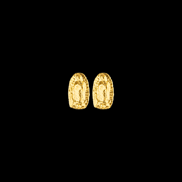 Broqueles De Oro 10KT De Virgen Maria Con Bola de Rosca/10KT Gold Virgin Mary Stud Earring Ball Screwback