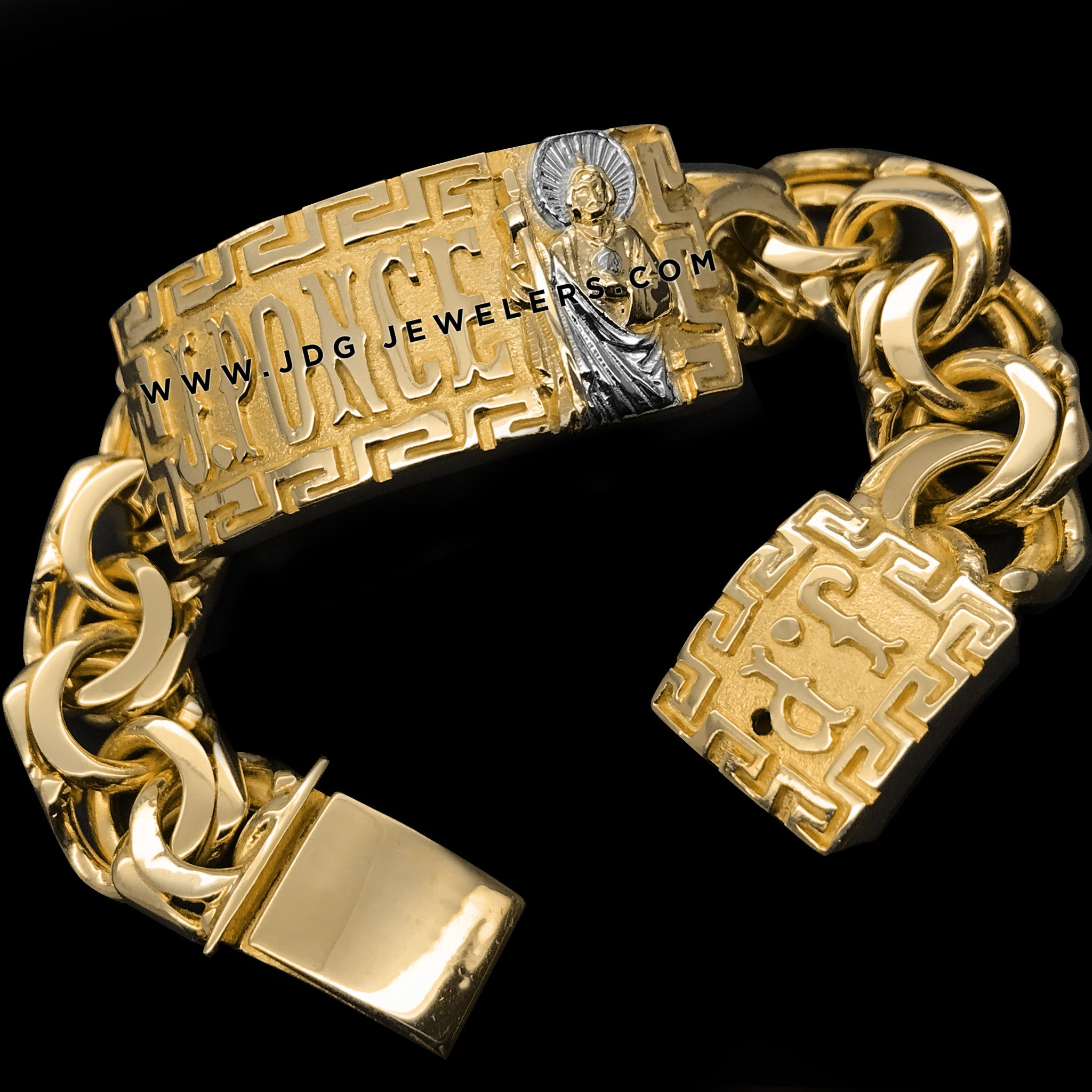 Chino Link ID Bracelet with Versace border and St Jude and Initials in Back Clasp