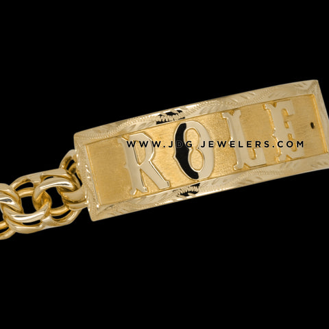 Chino Link ID Bracelet with textured Bezel, plain Letters
