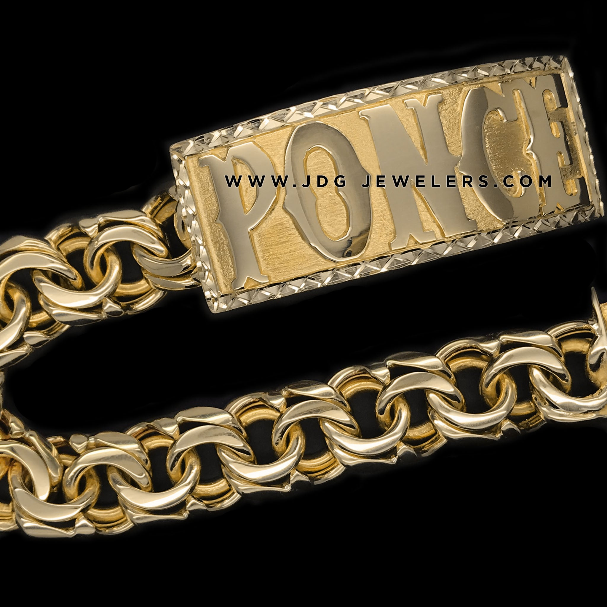 Chino Link ID Bracelet with Diamond Cut Border and Plain Letters