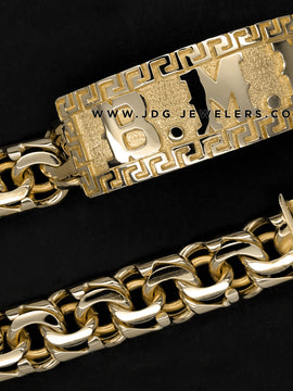 Chino Link ID Bracelet with plain Versace border