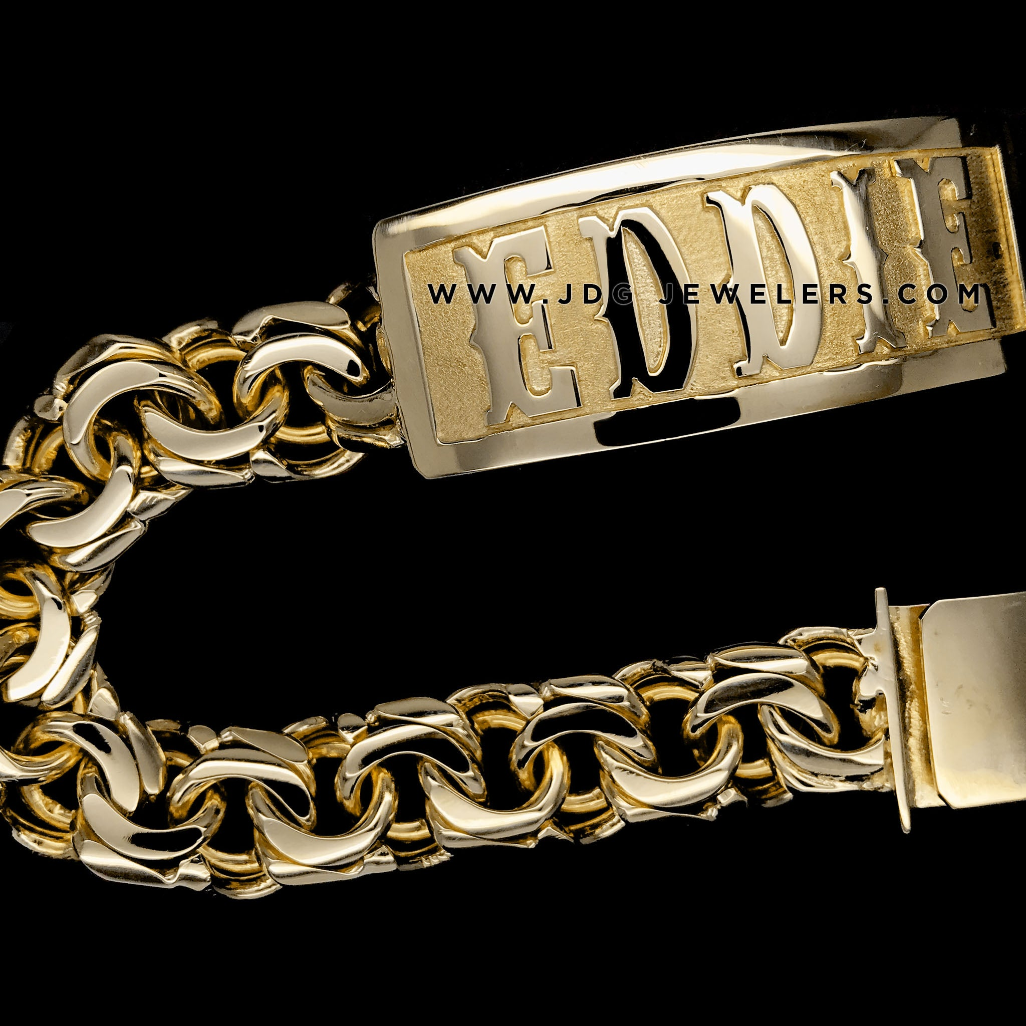 Chino Link ID Bracelet with Plain Border and Letters