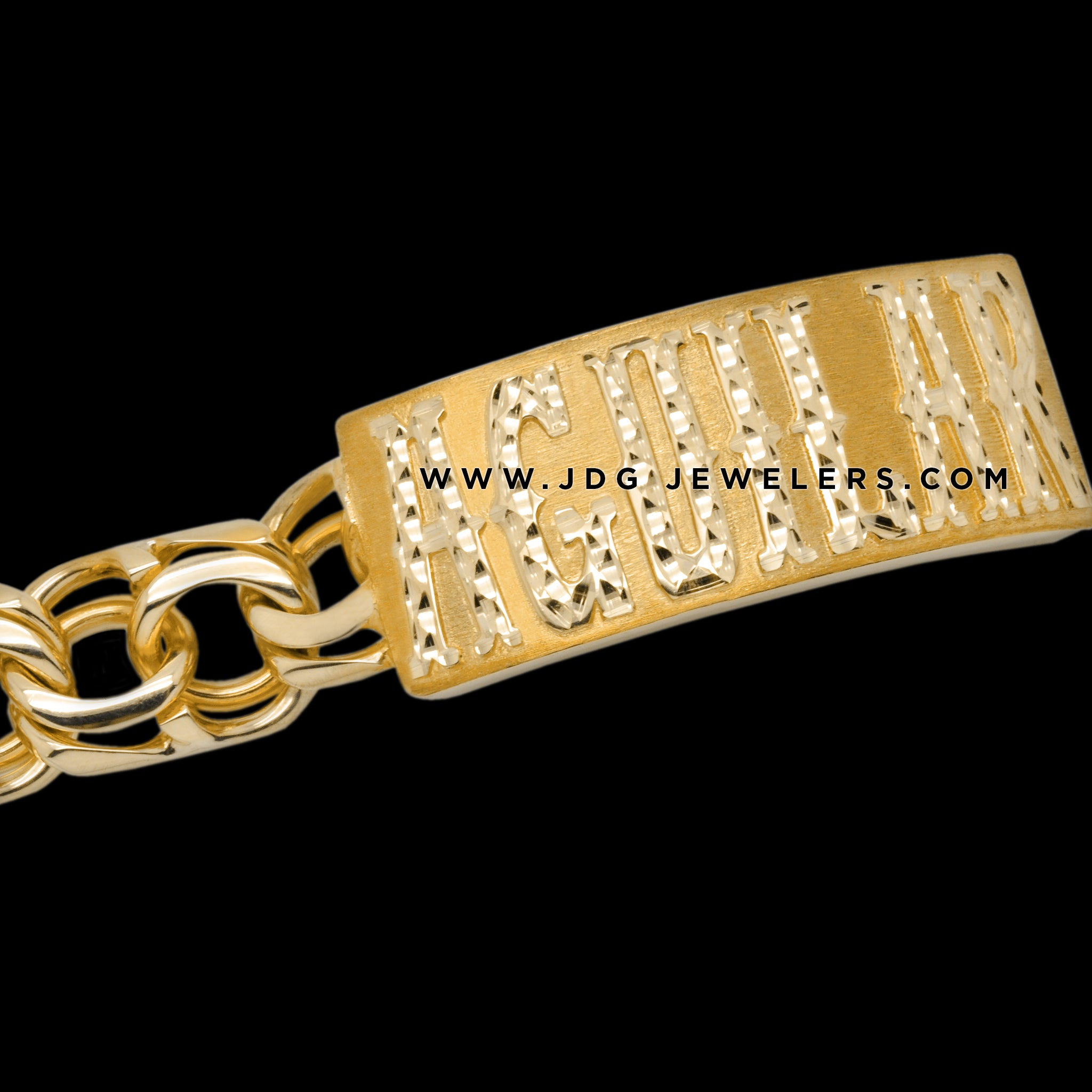 Chino Link ID Bracelet with Diamond Cut Letters