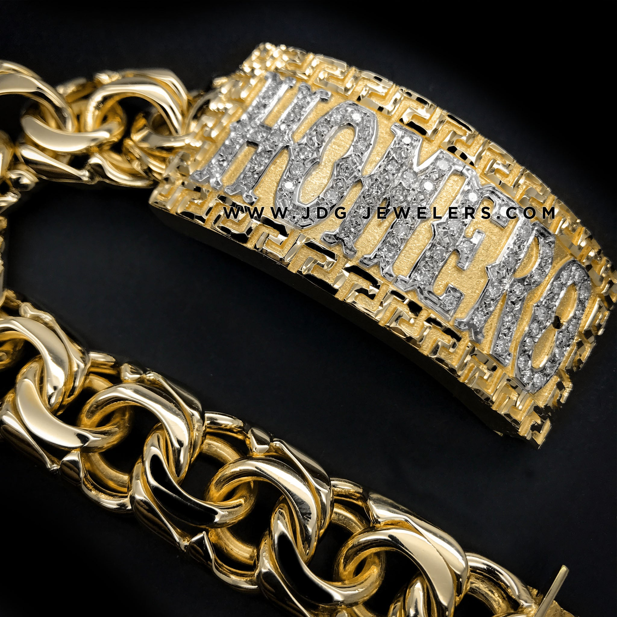 Chino Link ID Bracelet with Versace border and Stones