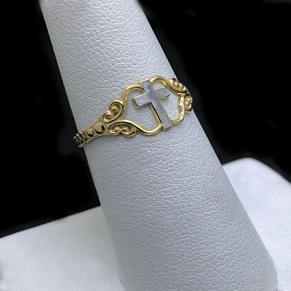 Anillo De Cruz De Oro 10KT /10KT Gold Two Tone Cross Ring
