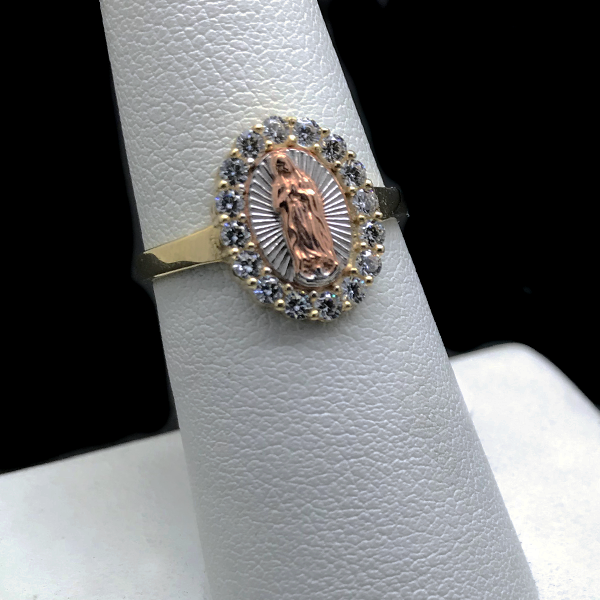 Women's Virgin Mary CZ Ring in 10KT Gold
