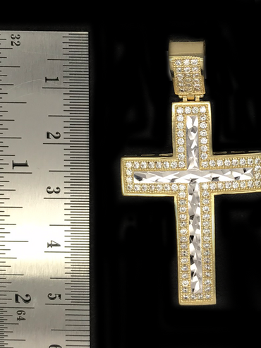Cruz de de Oro 10KT/10KT Gold CZ Cross Pendant