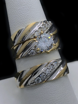 Trio de Matrimonio de Oro 10KT/10KT Gold Cubic Zirconia Two Tone Wedding Trio