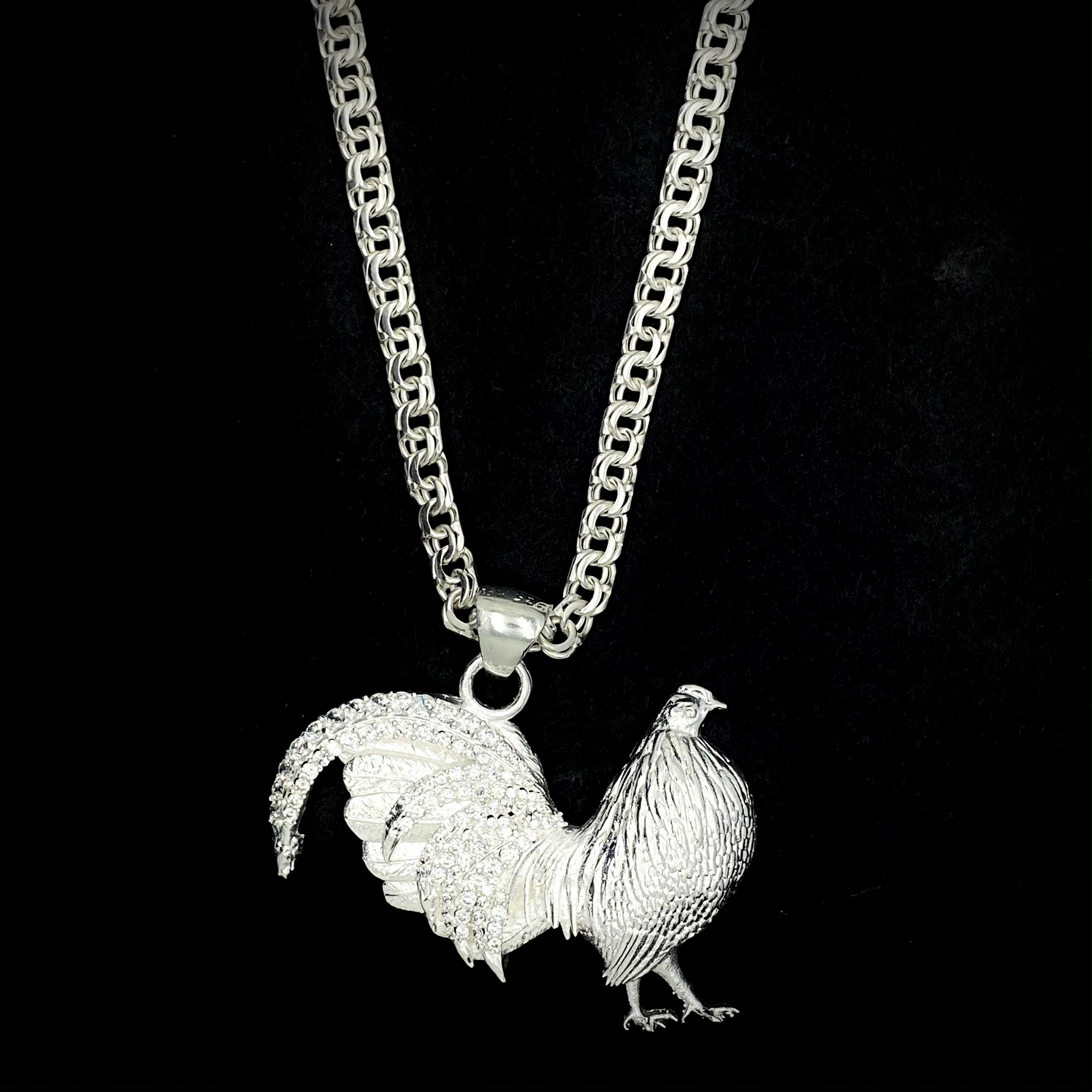 Gallo con Cadena Tejido Chino de Plata 925/Rooster Pendant with Chino Link Sterling Silver Chain