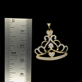 Dije de Corona De Princesa De Oro 10KT/Women's Princess Tiara Pendant in 10KT Gold With .17CTW Diamonds