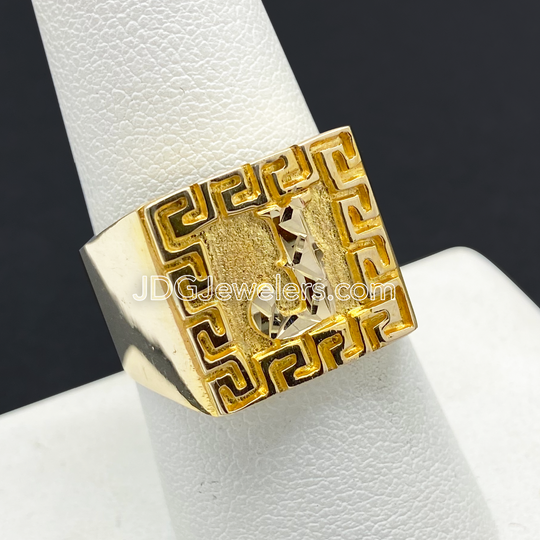 Anillo Inicial de Hombre 10KT Bicel Grecas Estilo Greek/Men's Initial Ring with Greek Border in 10KT Gold