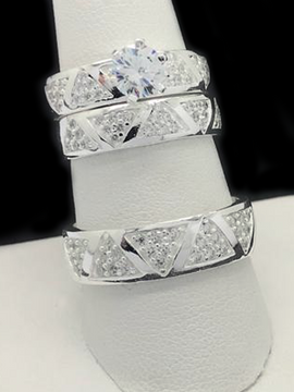 Trio De Matrimonio Con Cubic Zirconia De 925 Plata/Sterling Silver Trio Wedding Rings With Cubic Zirconia